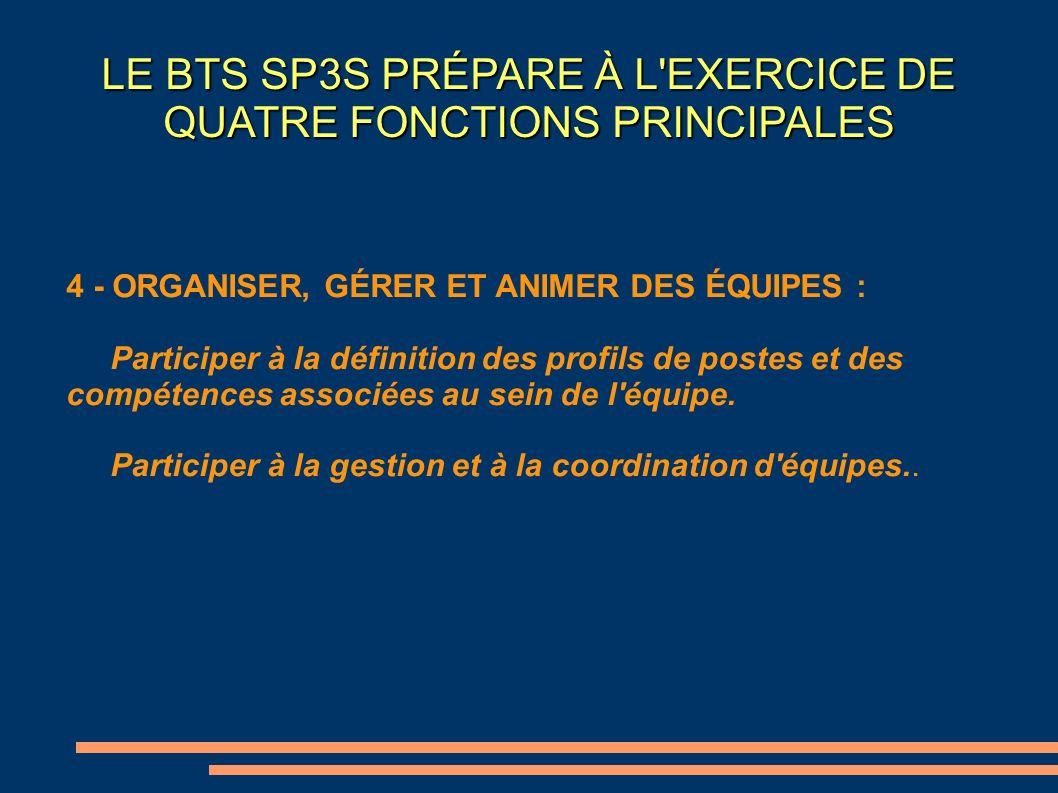 LE BTS SP3S PRÉPARE À L'EXERCICE DE QUATRE FONCTIONS PRINCIPALES 4 - ORGANISER, GÉRER ET ANIMER DES ÉQUIPES : Participer à la définition des profils d