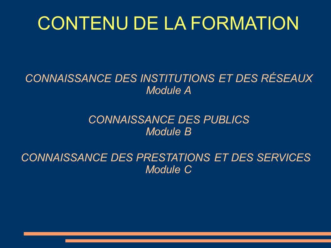 CONTENU DE LA FORMATION CONNAISSANCE DES INSTITUTIONS ET DES RÉSEAUX Module A CONNAISSANCE DES PUBLICS Module B CONNAISSANCE DES PRESTATIONS ET DES SE