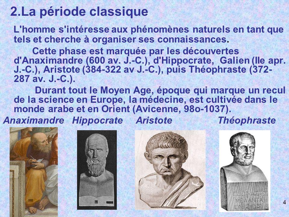 2.La période classique L'homme s'intéresse aux phénomènes naturels en tant que tels et cherche à organiser ses connaissances. Cette phase est marquée