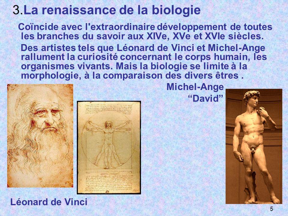 3.La renaissance de la biologie Coïncide avec l'extraordinaire développement de toutes les branches du savoir aux XIVe, XVe et XVIe siècles. Des artis