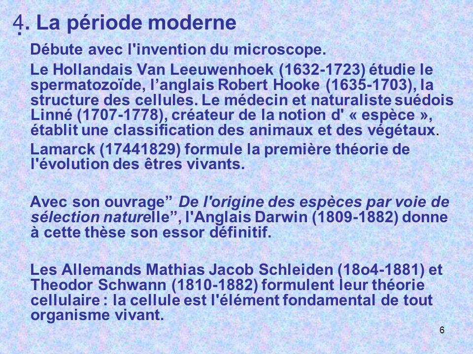 . 4. La période moderne Débute avec l'invention du microscope. Le Hollandais Van Leeuwenhoek (1632-1723) étudie le spermatozoïde, langlais Robert Hook