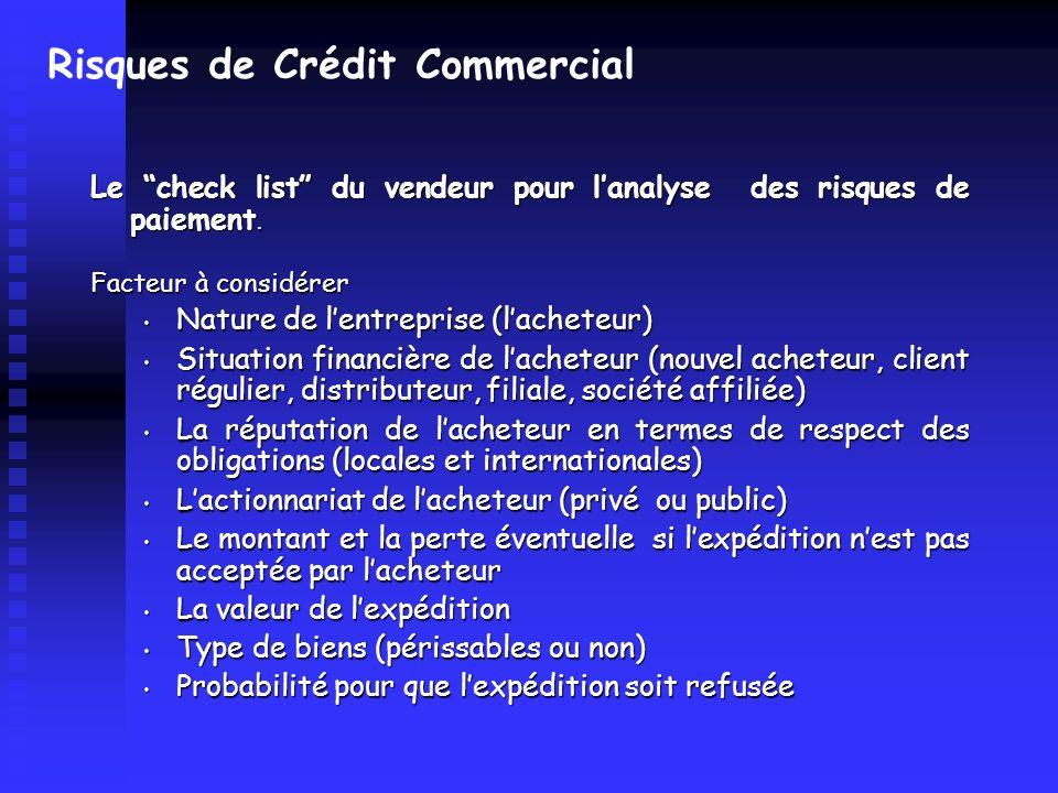 Risques de Crédit Commercial Le check list du vendeur pour lanalyse des risques de paiement. Facteur à considérer Nature de lentreprise (lacheteur) Na