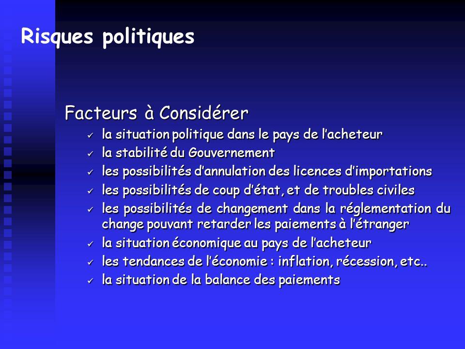 Risques politiques Facteurs à Considérer la situation politique dans le pays de lacheteur la situation politique dans le pays de lacheteur la stabilit