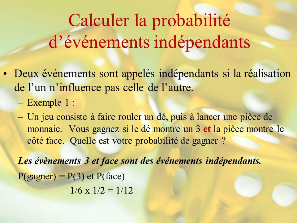 Calculer la probabilité dévénements indépendants Deux événements sont appelés indépendants si la réalisation de lun ninfluence pas celle de lautre. –E