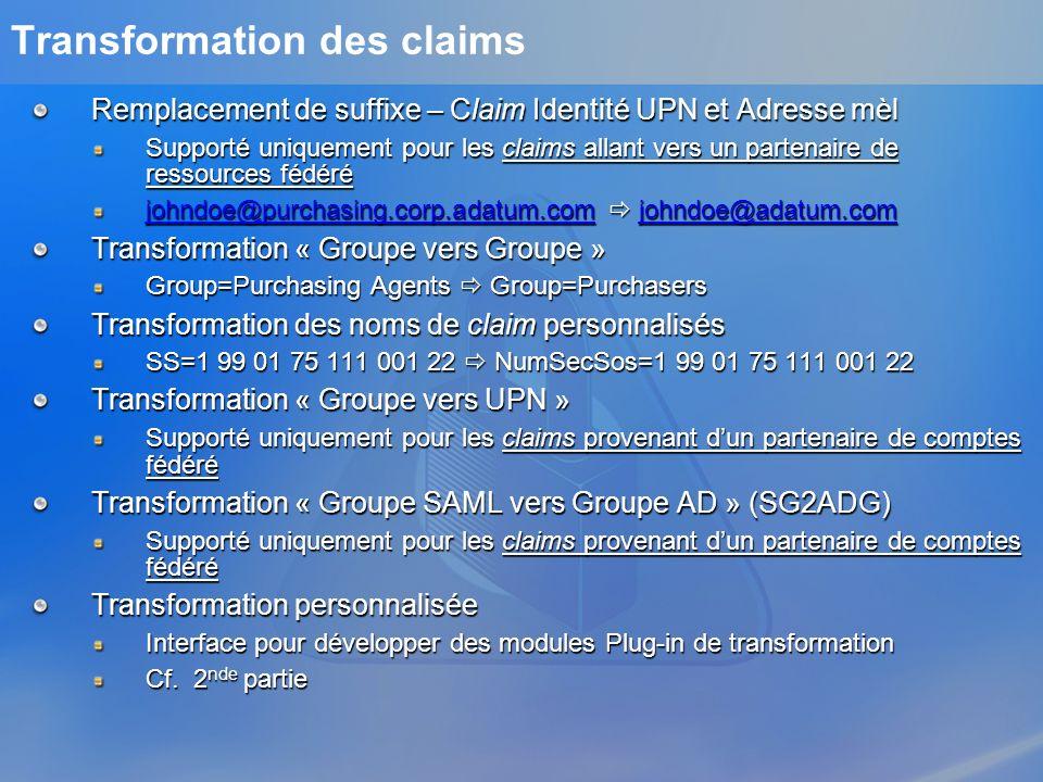 Transformation des claims Remplacement de suffixe – Claim Identité UPN et Adresse mèl Supporté uniquement pour les claims allant vers un partenaire de