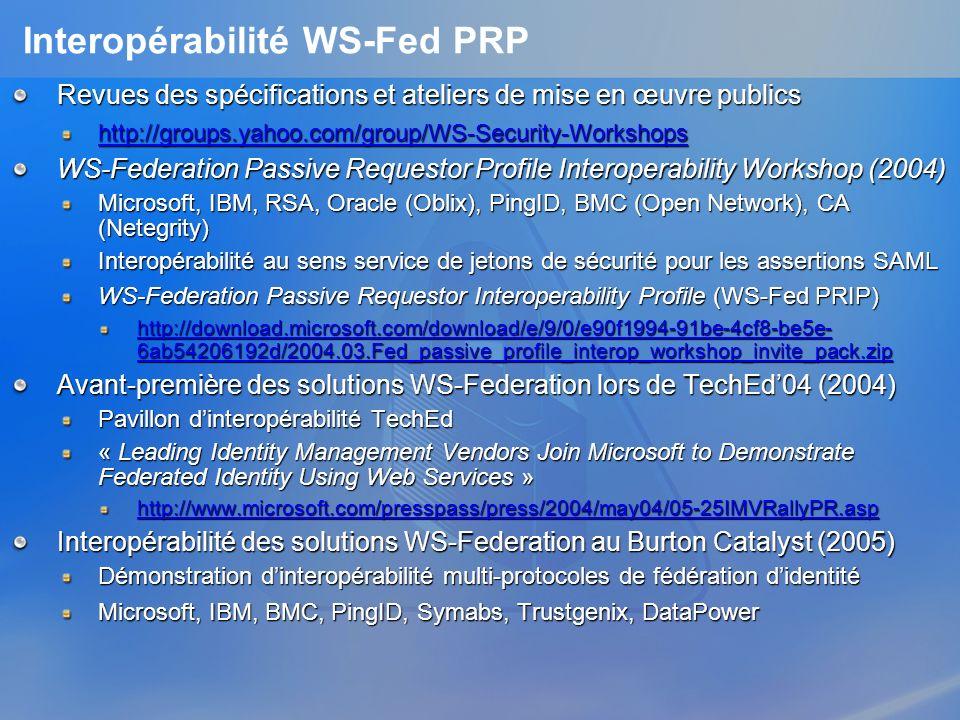 Interopérabilité WS-Fed PRP Revues des spécifications et ateliers de mise en œuvre publics http://groups.yahoo.com/group/WS-Security-Workshops WS-Fede