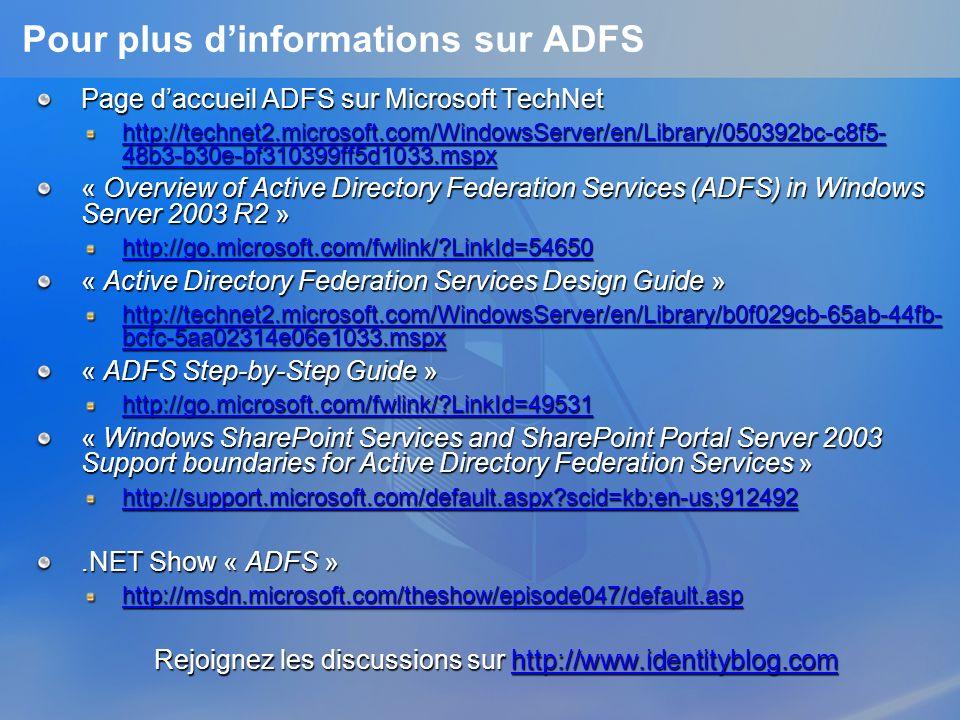 Pour plus dinformations sur ADFS Page daccueil ADFS sur Microsoft TechNet http://technet2.microsoft.com/WindowsServer/en/Library/050392bc-c8f5- 48b3-b