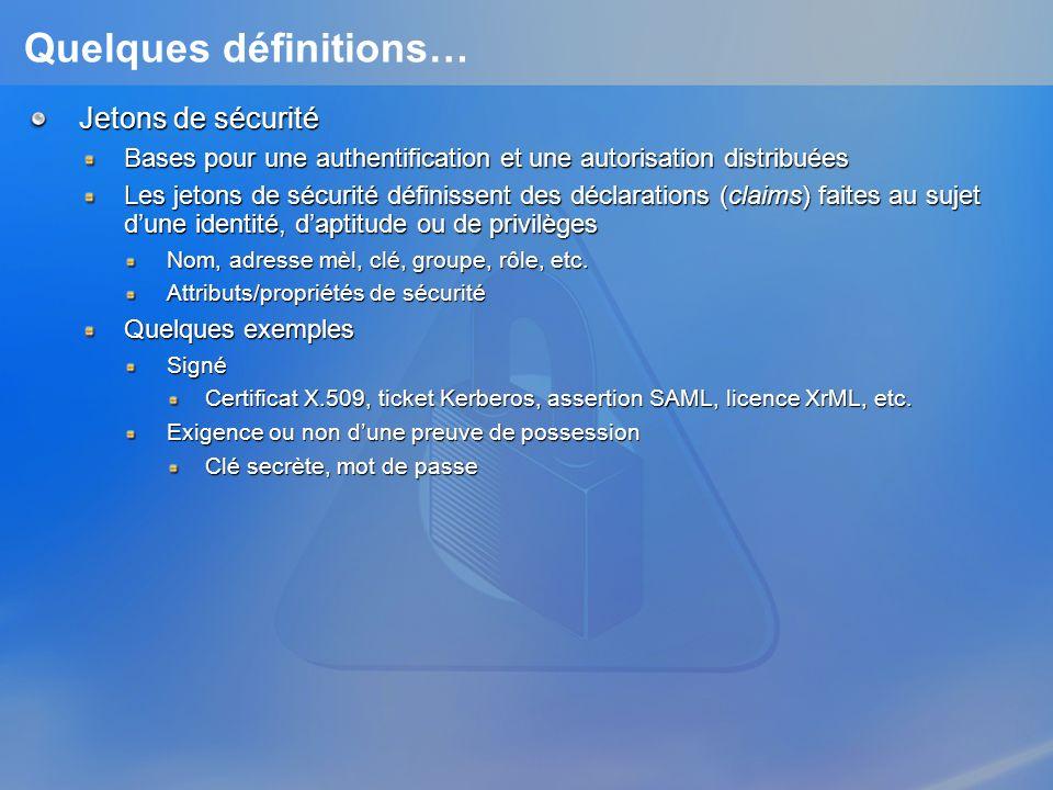 Quelques définitions… Jetons de sécurité Bases pour une authentification et une autorisation distribuées Les jetons de sécurité définissent des déclar