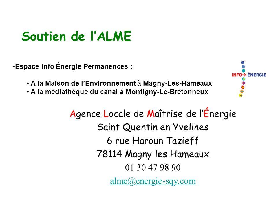 Soutien de lALME Espace Info Énergie Permanences : A la Maison de lEnvironnement à Magny-Les-Hameaux A la médiathèque du canal à Montigny-Le-Bretonneu