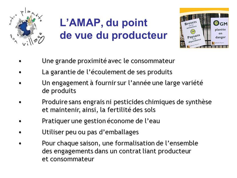 LAMAP, du point de vue du producteur Une grande proximité avec le consommateur Une grande proximité avec le consommateur La garantie de lécoulement de