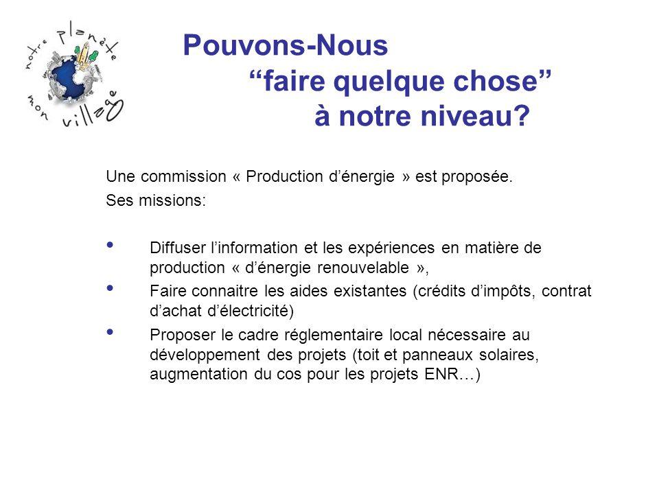 Pouvons-Nous faire quelque chose à notre niveau? Une commission « Production dénergie » est proposée. Ses missions: Diffuser linformation et les expér
