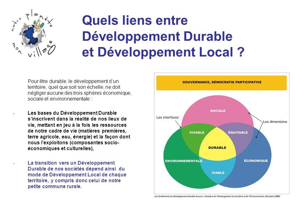 Quels liens entre Développement Durable et Développement Local ? Pour être durable, le développement dun territoire, quel que soit son échelle, ne doi