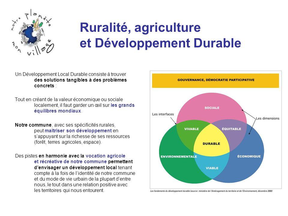 Ruralité, agriculture et Développement Durable Un Développement Local Durable consiste à trouver des solutions tangibles à des problèmes concrets : To