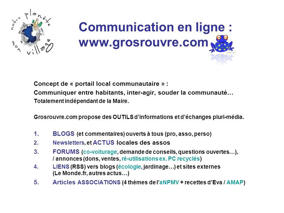 Communication en ligne : www.grosrouvre.com Concept de « portail local communautaire » : Communiquer entre habitants, inter-agir, souder la communauté