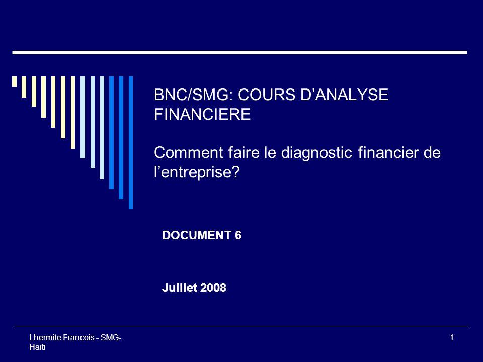 Lhermite Francois - SMG- Haiti 1 BNC/SMG: COURS DANALYSE FINANCIERE Comment faire le diagnostic financier de lentreprise? DOCUMENT 6 Juillet 2008