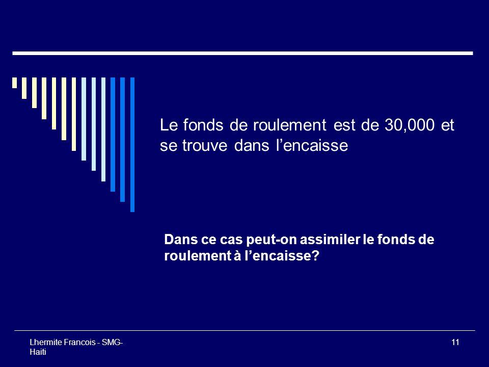 Lhermite Francois - SMG- Haiti 11 Le fonds de roulement est de 30,000 et se trouve dans lencaisse Dans ce cas peut-on assimiler le fonds de roulement