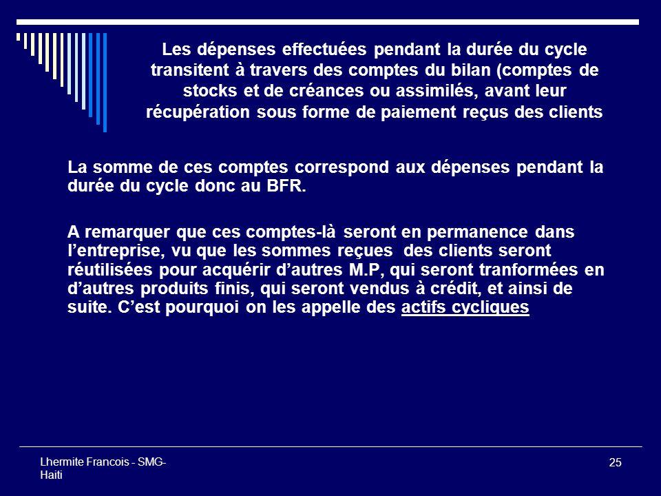 25 Lhermite Francois - SMG- Haiti Les dépenses effectuées pendant la durée du cycle transitent à travers des comptes du bilan (comptes de stocks et de