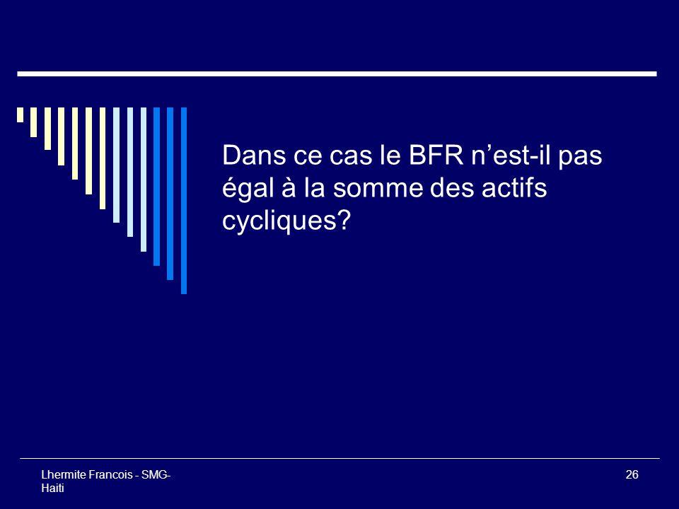 Lhermite Francois - SMG- Haiti 26 Dans ce cas le BFR nest-il pas égal à la somme des actifs cycliques?