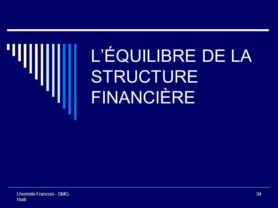 Lhermite Francois - SMG- Haiti 34 LÉQUILIBRE DE LA STRUCTURE FINANCIÈRE