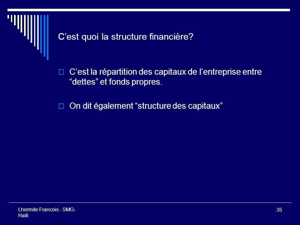 35 Lhermite Francois - SMG- Haiti Cest quoi la structure financière? Cest la répartition des capitaux de lentreprise entre dettes et fonds propres. On