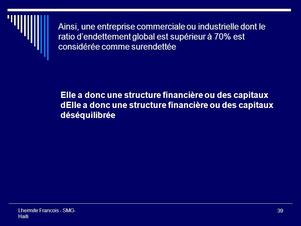 39 Lhermite Francois - SMG- Haiti Ainsi, une entreprise commerciale ou industrielle dont le ratio dendettement global est supérieur à 70% est considér