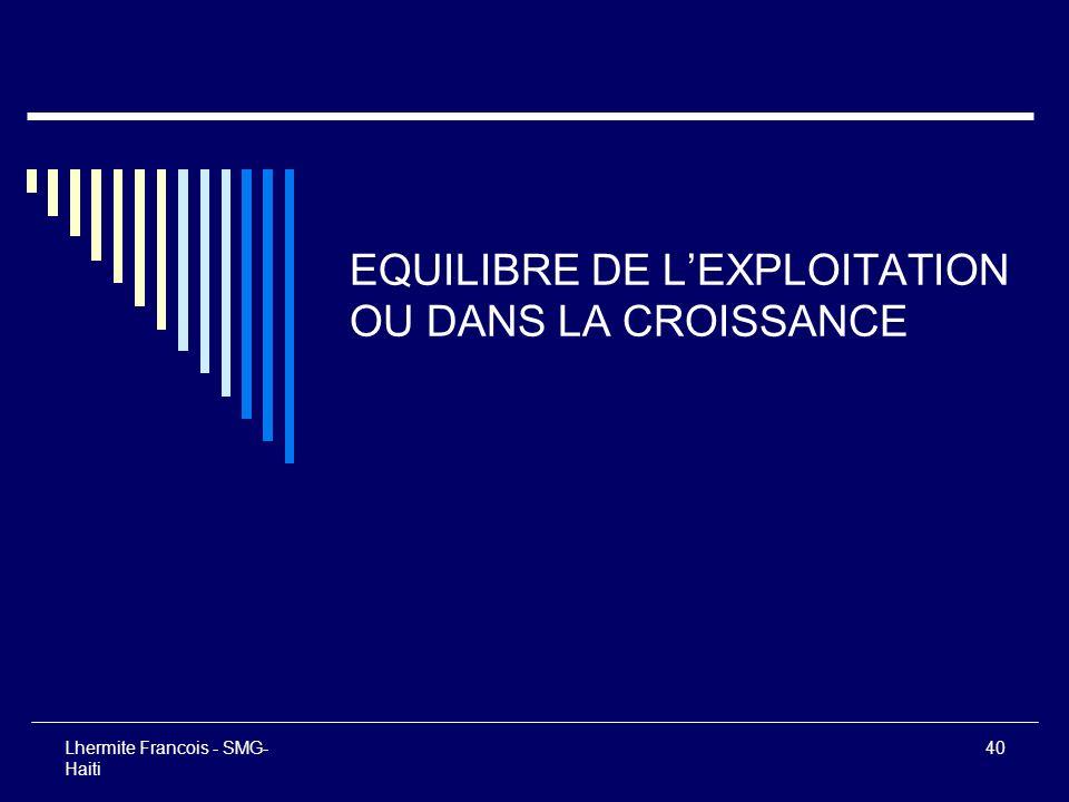 Lhermite Francois - SMG- Haiti 40 EQUILIBRE DE LEXPLOITATION OU DANS LA CROISSANCE