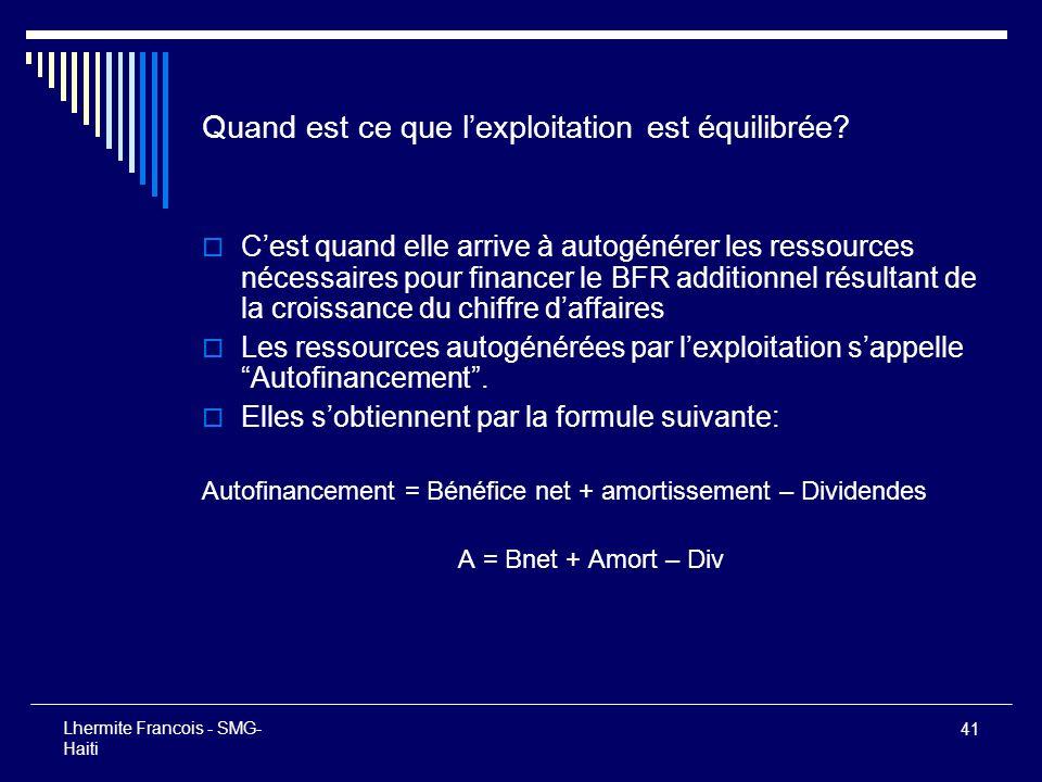 41 Lhermite Francois - SMG- Haiti Quand est ce que lexploitation est équilibrée? Cest quand elle arrive à autogénérer les ressources nécessaires pour