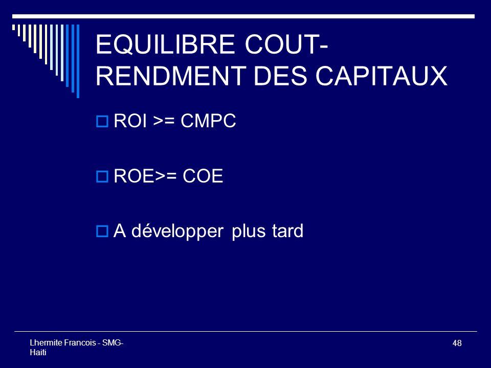 48 Lhermite Francois - SMG- Haiti EQUILIBRE COUT- RENDMENT DES CAPITAUX ROI >= CMPC ROE>= COE A développer plus tard