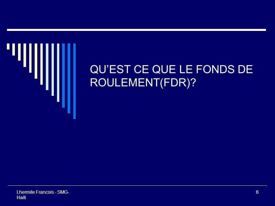 17 Lhermite Francois - SMG- Haiti De ces deux formules découlent 4 définitions du fonds de roulement FDR 1.