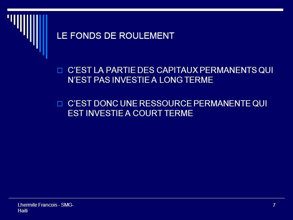 7 Lhermite Francois - SMG- Haiti LE FONDS DE ROULEMENT CEST LA PARTIE DES CAPITAUX PERMANENTS QUI NEST PAS INVESTIE A LONG TERME CEST DONC UNE RESSOUR