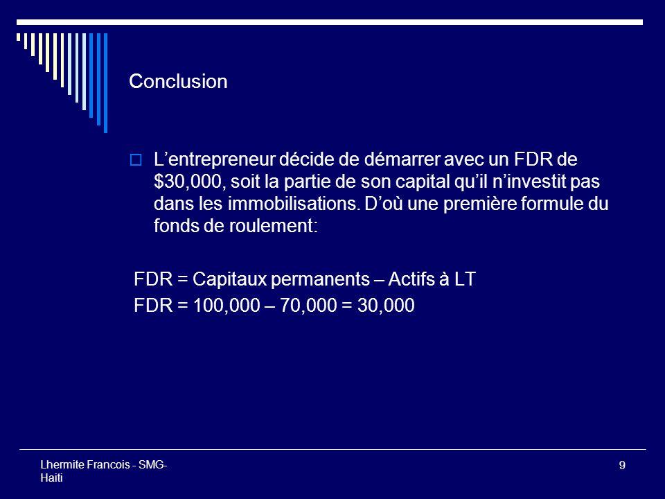 10 Lhermite Francois - SMG- Haiti Présentation du bilan de démarrage de notre entrepreneur Encaisse30,000 Immobilisations (ALT)70,000 Total actif100,000 Capitaux permanents (CP)100,000 FDR = CP - ALT30,000