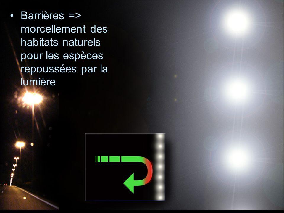 Barrières => morcellement des habitats naturels pour les espèces repoussées par la lumière