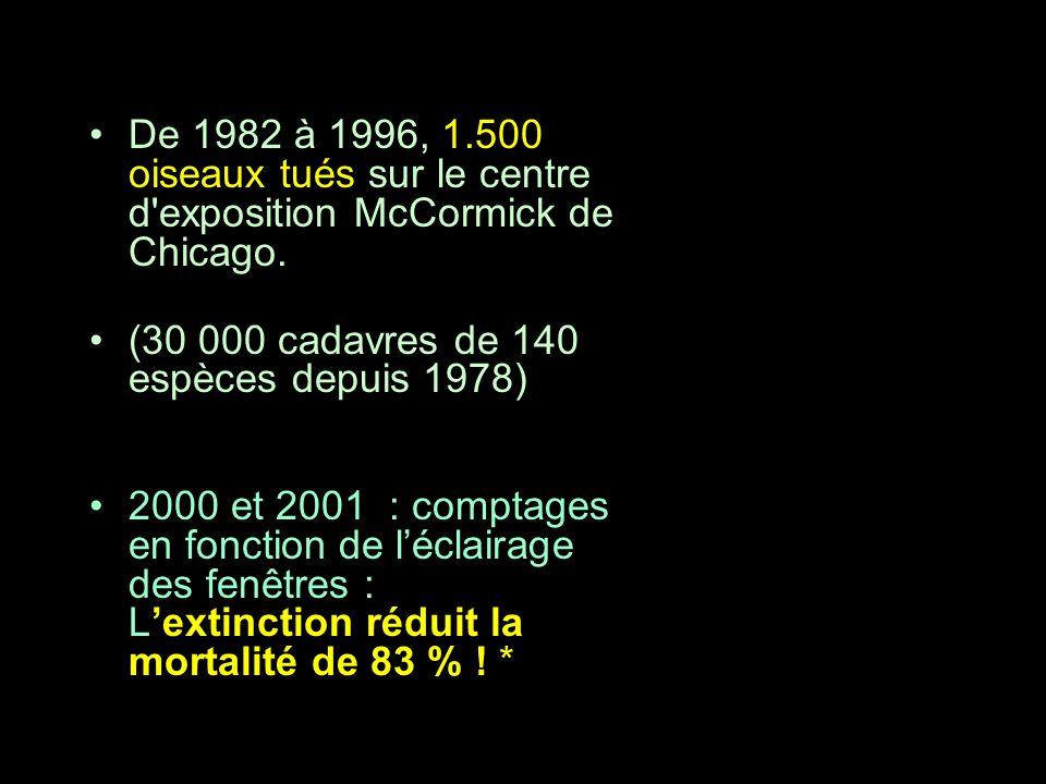 De 1982 à 1996, 1.500 oiseaux tués sur le centre d'exposition McCormick de Chicago. (30 000 cadavres de 140 espèces depuis 1978) 2000 et 2001 : compta