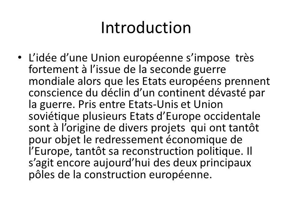 Introduction Lidée dune Union européenne simpose très fortement à lissue de la seconde guerre mondiale alors que les Etats européens prennent conscien