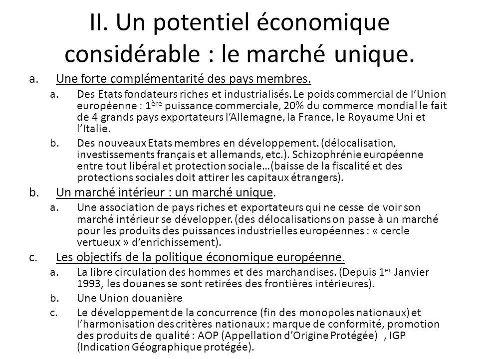 II. Un potentiel économique considérable : le marché unique. a.Une forte complémentarité des pays membres. a.Des Etats fondateurs riches et industrial