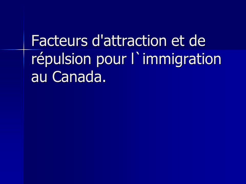 Facteurs d attraction et de répulsion pour l`immigration au Canada.