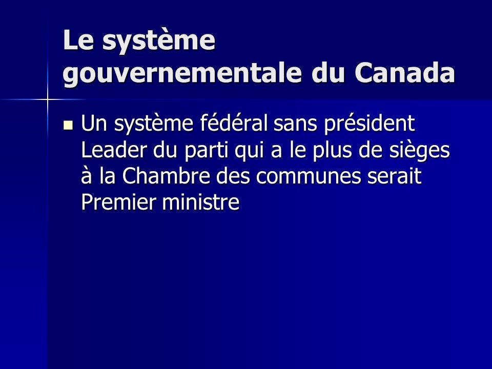 Le système gouvernementale du Canada Un système fédéral sans président Leader du parti qui a le plus de sièges à la Chambre des communes serait Premier ministre Un système fédéral sans président Leader du parti qui a le plus de sièges à la Chambre des communes serait Premier ministre
