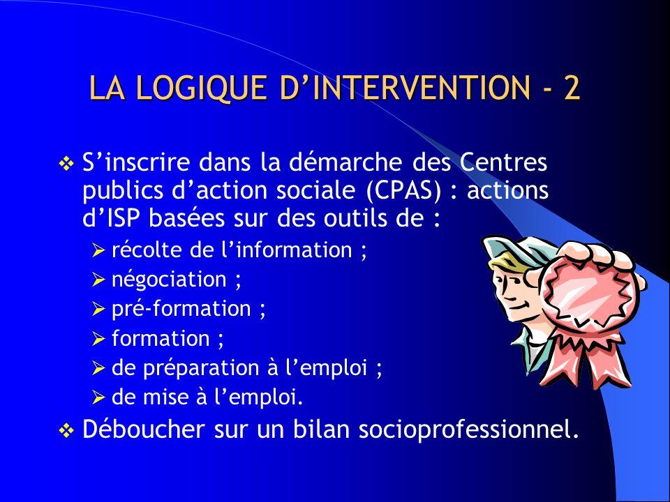 LA LOGIQUE DINTERVENTION - 1 Etablir le lien entre le bilan socioprofessionnel et la méthode MAGIC développée dans le cadre du projet PECI (Modèle act