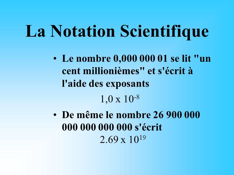 La Notation Scientifique Les exposants sont employés dans tous les domaines qui font appel aux mathématiques et spécialement dans le domaine scientifi