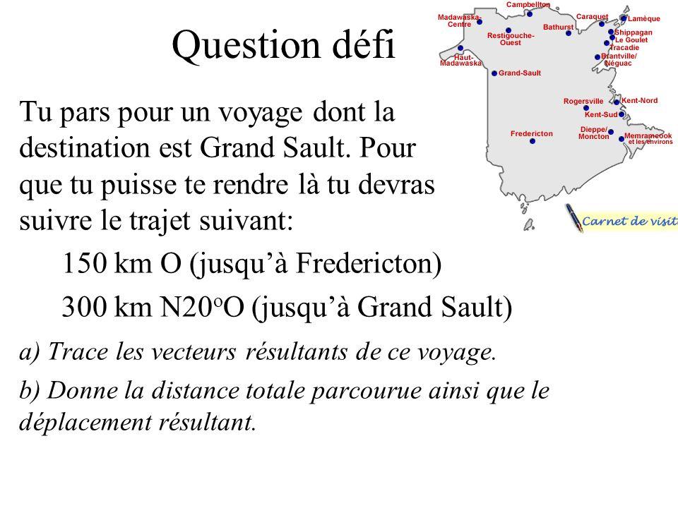 Trace les vecteurs suivants: a) 400m/s 2 S45 o O b) 27m/s N60 o O c) 100km N15 o Ed) 155 km/h S 80 o E a) 400m/s 2 S45 o E 45 o Échelle: 1cm = 100m/s