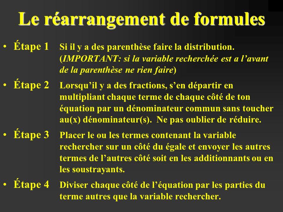 Voici quelques formules à utiliser pour résoudre les problèmes de physique a) v = db) v f = v i + at t c) v f 2 = v i 2 + 2add) d = v i t + at 2 2 e)