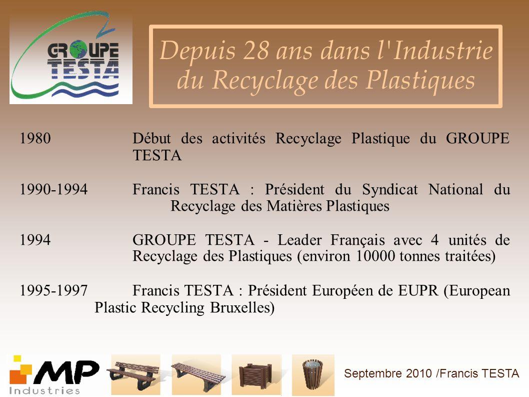 1980Début des activités Recyclage Plastique du GROUPE TESTA 1990-1994Francis TESTA : Président du Syndicat National du Recyclage des Matières Plastiqu