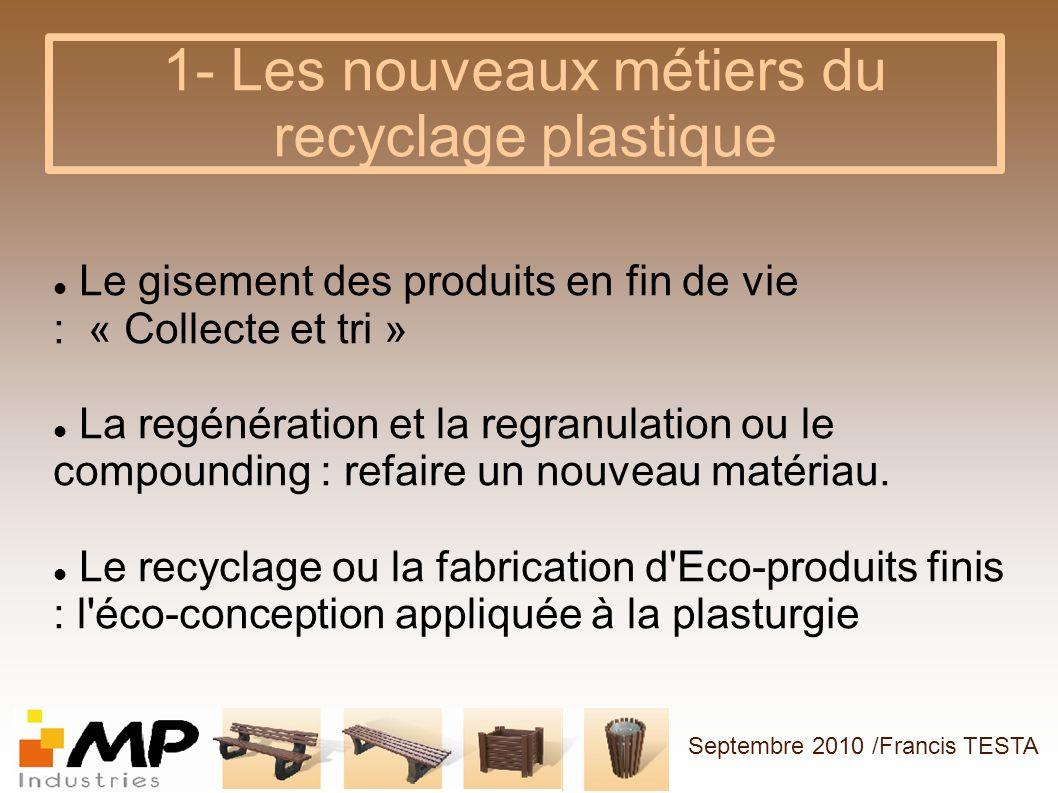 1- Les nouveaux métiers du recyclage plastique Le gisement des produits en fin de vie : « Collecte et tri » La regénération et la regranulation ou le