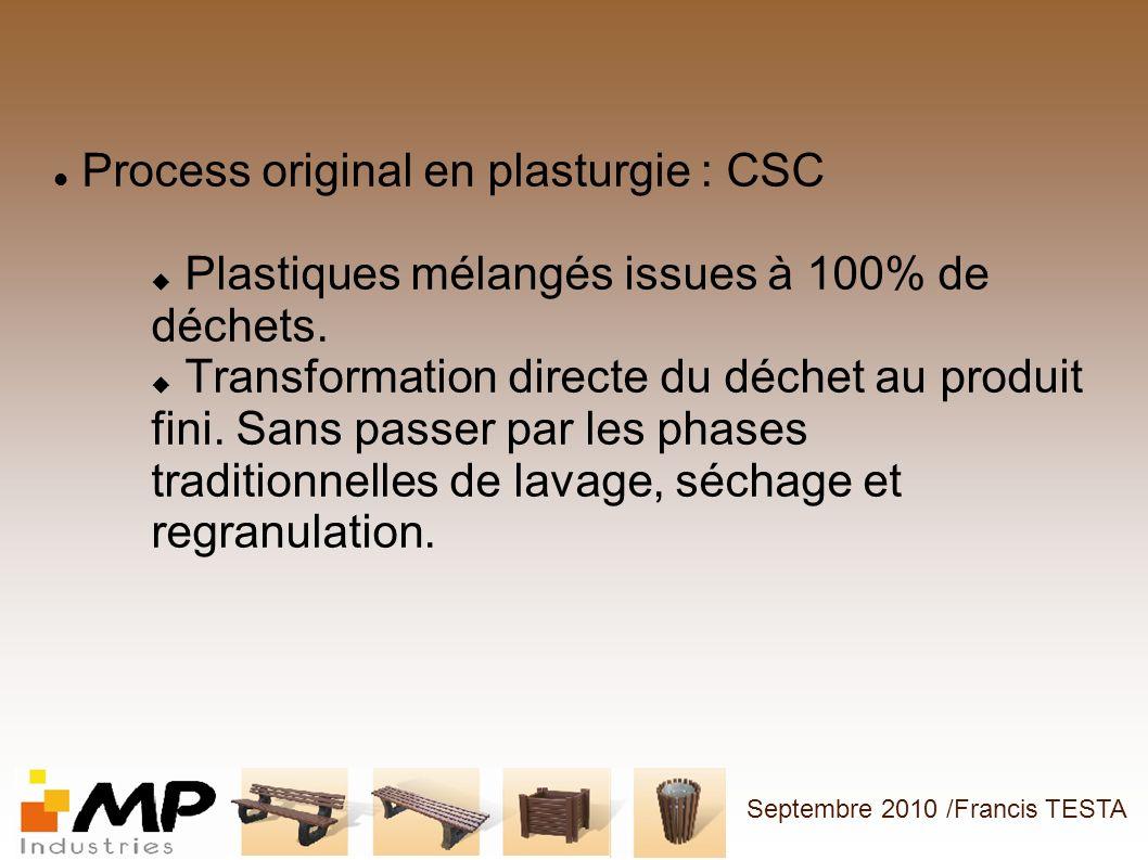 Process original en plasturgie : CSC Plastiques mélangés issues à 100% de déchets. Transformation directe du déchet au produit fini. Sans passer par l