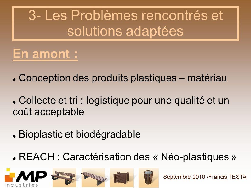 3- Les Problèmes rencontrés et solutions adaptées En amont : Conception des produits plastiques – matériau Collecte et tri : logistique pour une quali