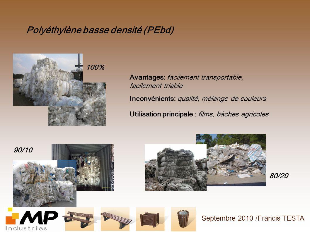 Polyéthylène basse densité (PEbd) 100% 90/10 80/20 Avantages: facilement transportable, facilement triable Inconvénients: qualité, mélange de couleurs