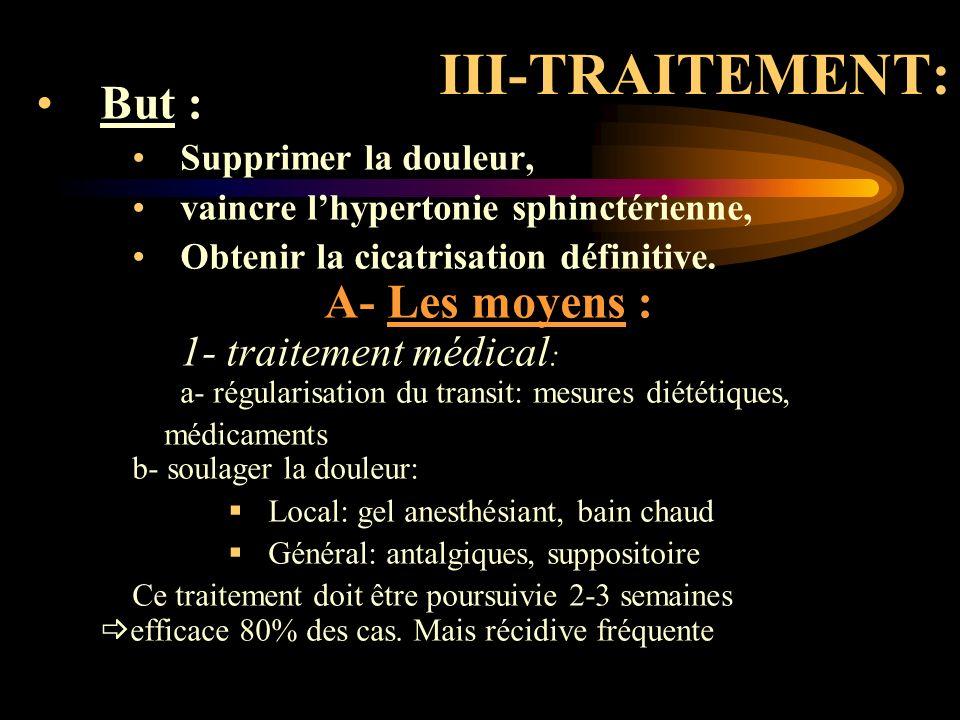 III-TRAITEMENT: But : Supprimer la douleur, vaincre lhypertonie sphinctérienne, Obtenir la cicatrisation définitive. A- Les moyens : 1- traitement méd