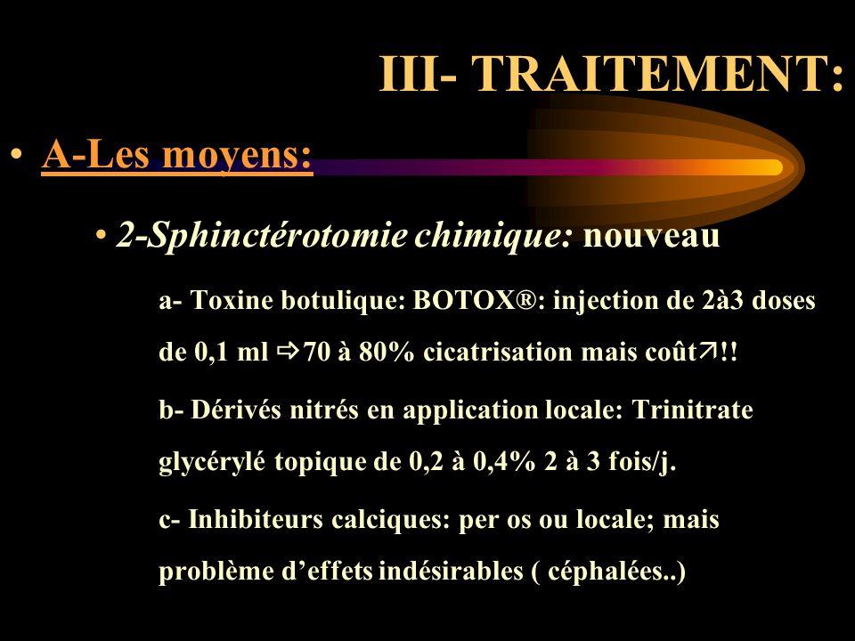 III- TRAITEMENT: A-Les moyens: 2-Sphinctérotomie chimique: nouveau a- Toxine botulique: BOTOX®: injection de 2à3 doses de 0,1 ml 70 à 80% cicatrisatio