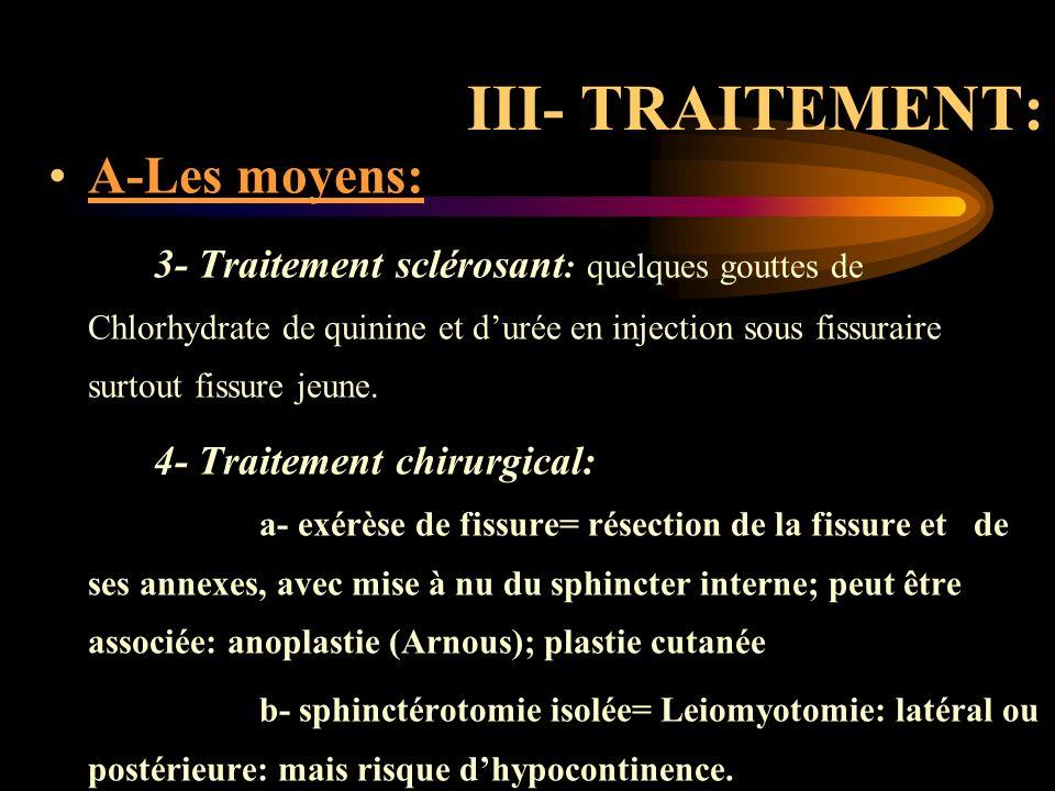 III- TRAITEMENT: A-Les moyens: 3- Traitement sclérosant : quelques gouttes de Chlorhydrate de quinine et durée en injection sous fissuraire surtout fi