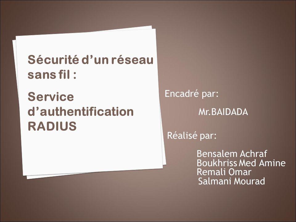 Réalisé par: Bensalem Achraf Boukhriss Med Amine Remali Omar Salmani Mourad Sécurité dun réseau sans fil : Service dauthentification RADIUS Encadré pa